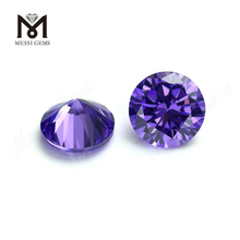 Synthetic 8mm 10mm round machine cut violet cubic zirconia stone