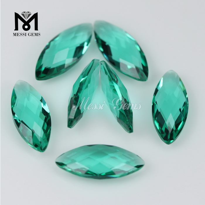 Fashionable Marquise Double Briolette 8x19 Green Crystal Stones for Clothing
