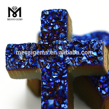 Deep blue color cross natural druzy agate