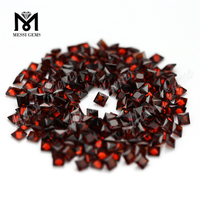 Guangzhou Clean Quality Square 3x3mm Garnet Stone Natural Red Garnet Stone