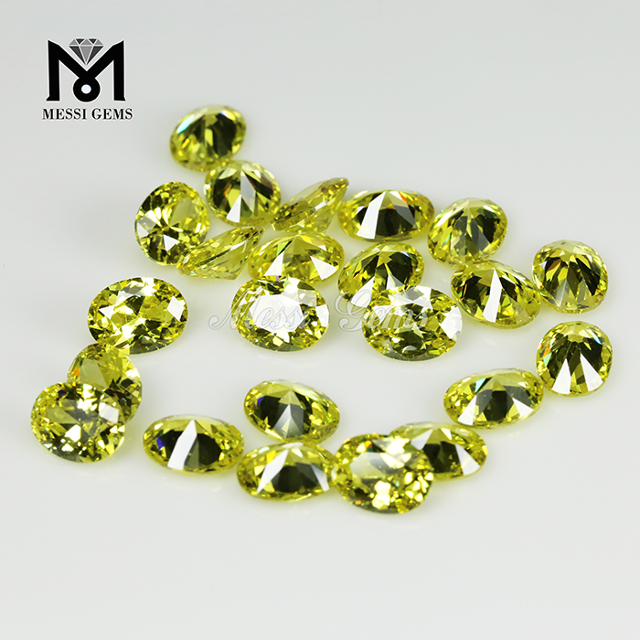 Oval 8x12mm Loose Gemstone Color play or fire Peridot cubic zirconia Heat