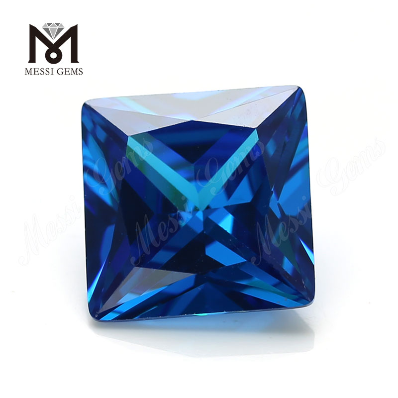 High Quality square Shape 12*12mm Blue topaz CZ Cubic Zirconia Stone Price