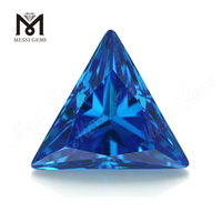 High Quality triangle Shape 12*12mm Blue topaz CZ Cubic Zirconia Stone Price