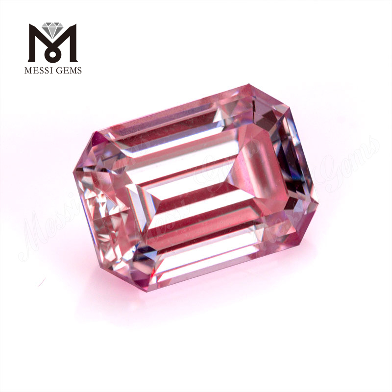 Factory price 1 carat 6.5x5mm pink VVS Moissanite stone Emerald cut for jewelry making