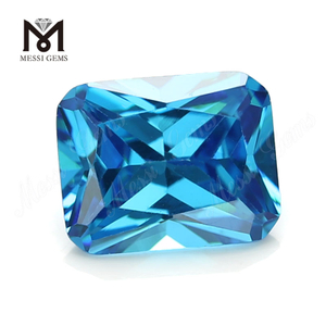 Machine octagon cut 10x14mm Aquamarine cubic zirconia in loose gemstone