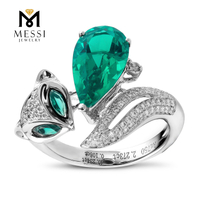 14k 18k white gold jewelry wholesale emerald ring fox animal shape sexy lady emerald jewelry