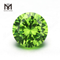 Synthetic cz stone factory 8.0mm round apple green colored cubci zirconia