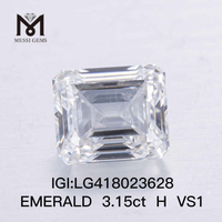 3.15CT H/VS1 EMERALD CUT lab diamond EX VG