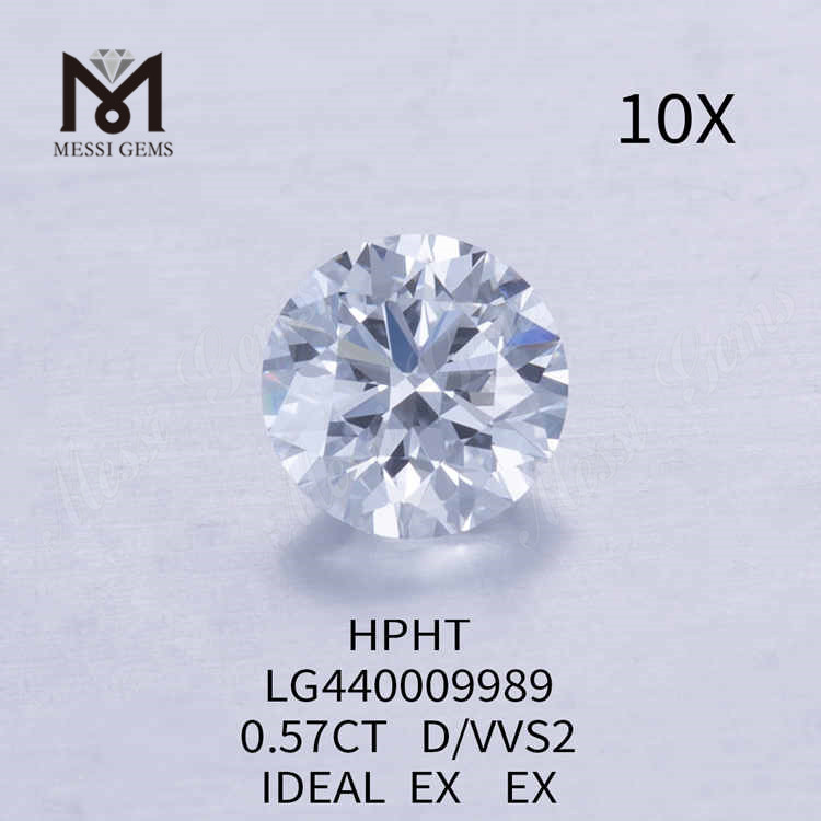 0.57CT D/VVS2 round lab grown diamond IDEAL