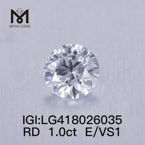 1.0CT E/VS1 round EX VG lab grown diamond