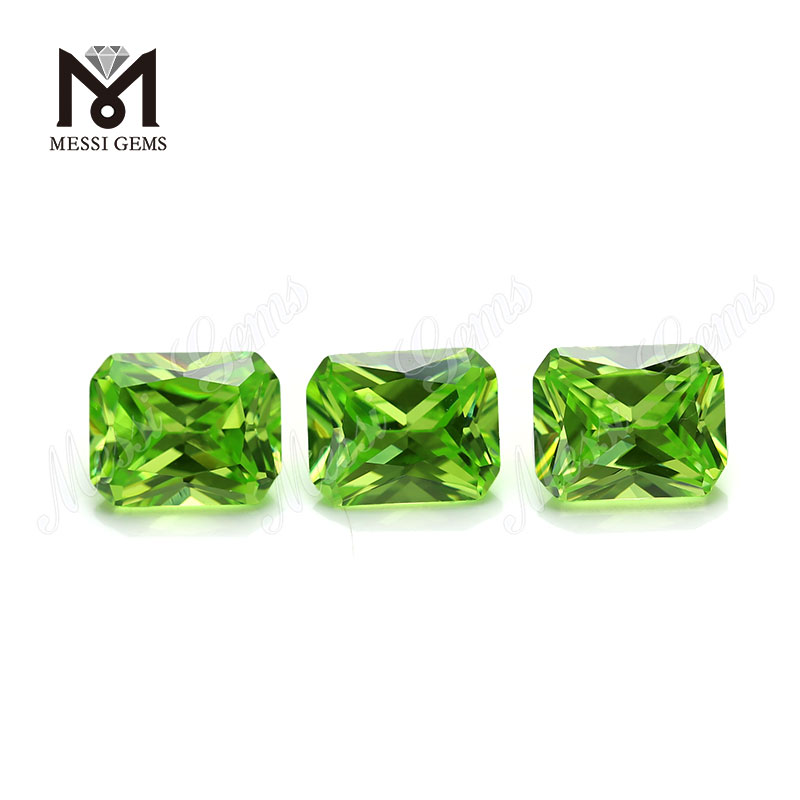 factory apple green octagon sytnetic cubic zirconia loose cz stone