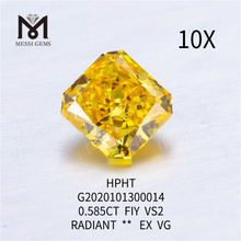 0.585ct FIY VS2 EX VG Radiant lab grown diamond