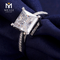 moissanite diamond ring Square princess cut 14k 18k white gold ring for woman jewelry girl ring