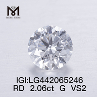 2.06ct G VS2 Lab Grown Diamonds Round Cut EX